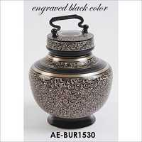 Solid Brass Black Engraved Adult Urn W Handle