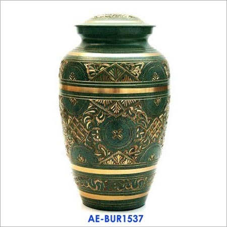 Solid Brass Adult Cremation Urn Has A Beautiful Green Finish Exquisite Gold Etched Design