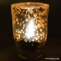 SILVER Glass Candle Holder Handmade Votive