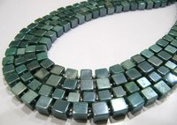 Natural Moonstone AB Mystic Coated 6-7mm Emerald Green Color Plain Smooth Cube Box Shape Beads