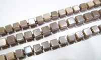 Natural Moonstone AB Mystic Coated 6-7mm Peach Color Plain Smooth Cube Box Shape  Beads