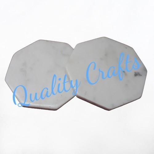 White Hexagon Marble Coaster