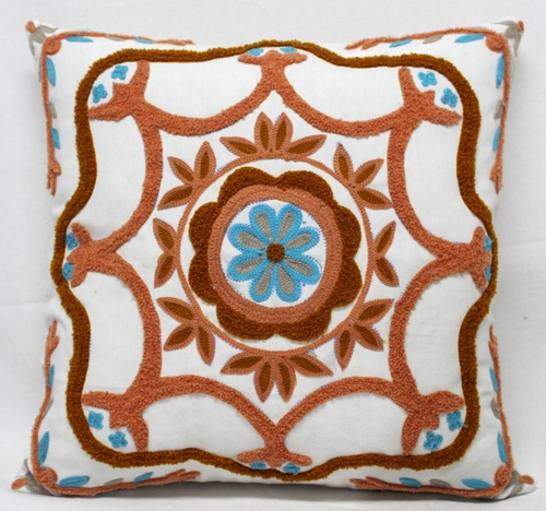 Leaves Design Manual Embroidery Cushion cover
