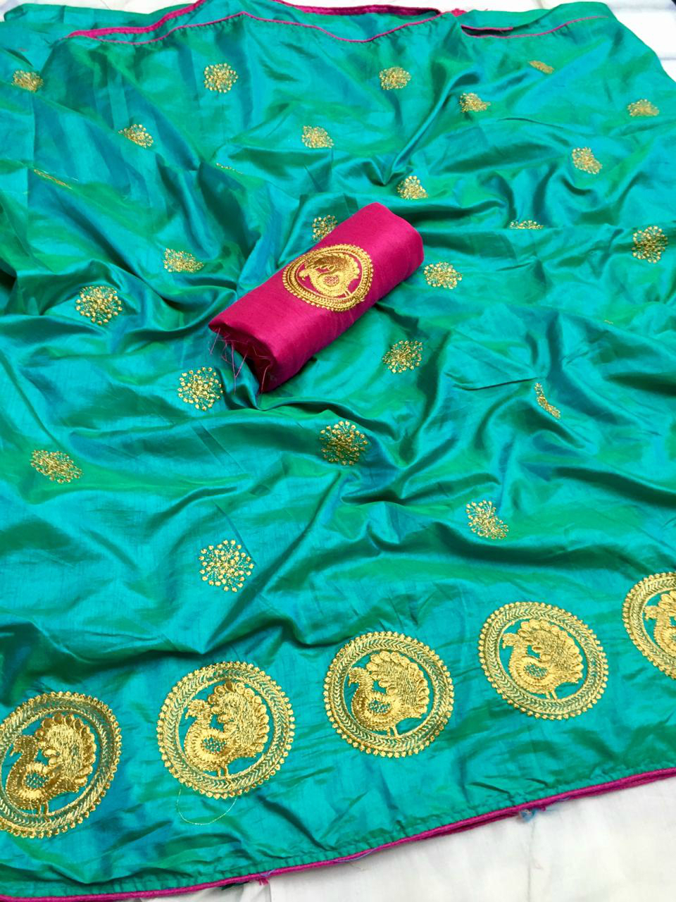 Designer Paper Silk Embroidered Saree