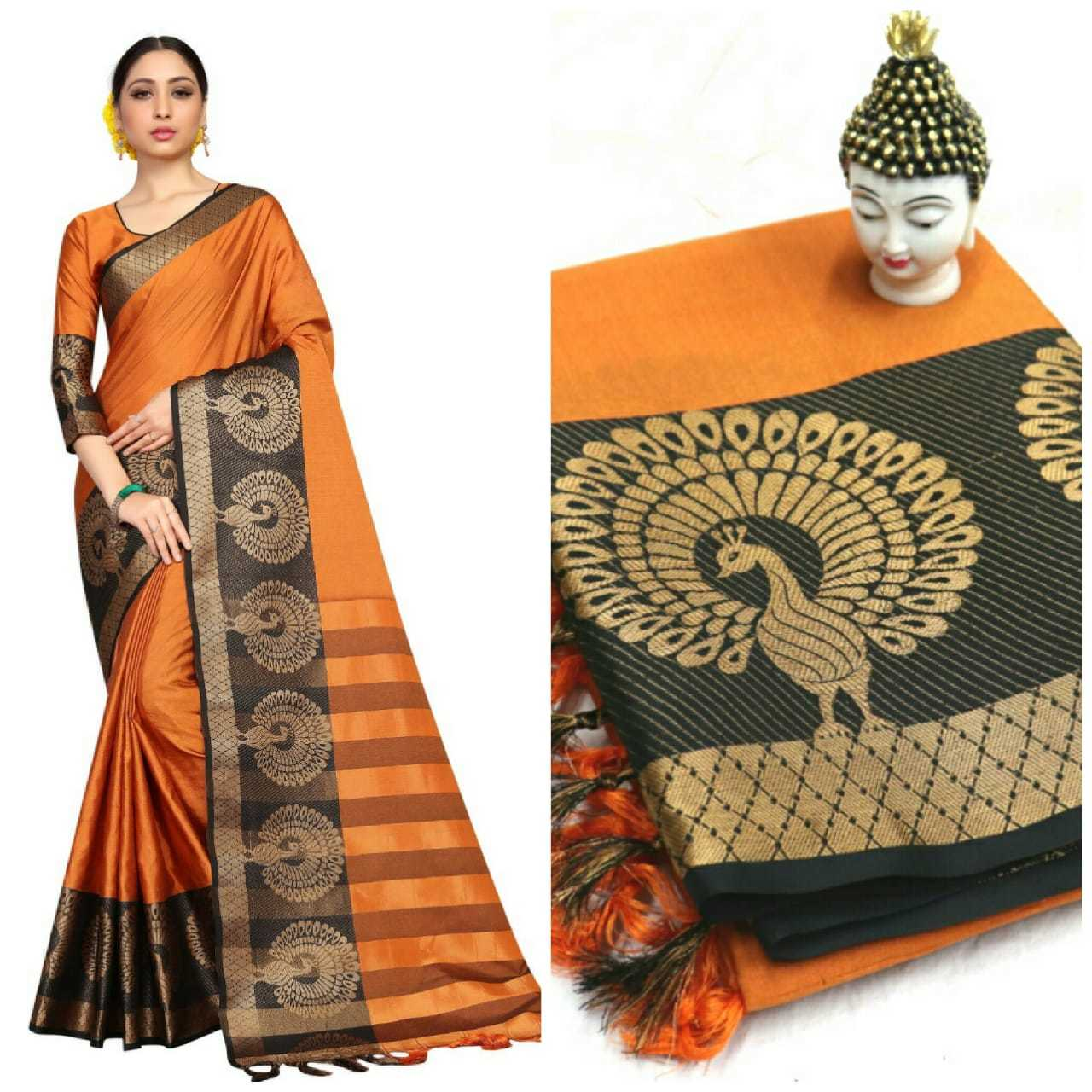Exclusive Cotton silk Peacock Design Saree
