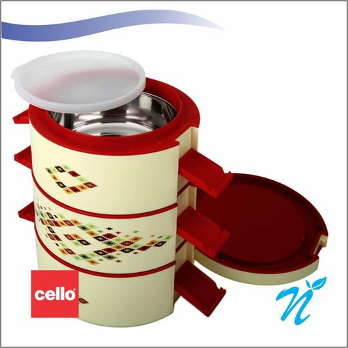 Cello Decker Insulated Lunch Carrier (3 Container) Small Mop Red