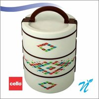 Cello Decker Insulated Lunch Carrier (3 Container) Small White Brown