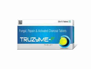Truworth Truzyme-f (Fungal, Papain &  Activated Charcoal Tablet)