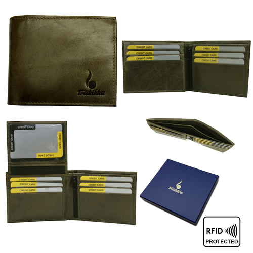 Men Genuine Leather Bifold Slim Wallet