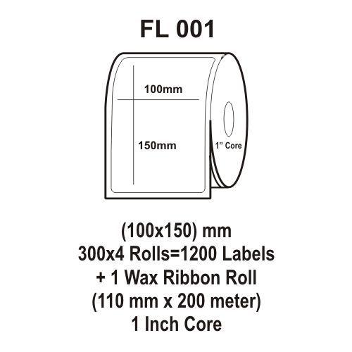 Flexi Labels FL-001(100X150mm, 300X 4 Rolls+ 1 Wax Ribbon Roll)