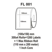 Flexi Labels FL-001(100X150mm, 300X 4 Rolls+ 1 Wax Ribbon Roll)