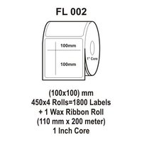 Flexi Labels FL-002(100X100mm, 450X 4 Rolls+ 1 Wax Ribbon Roll)
