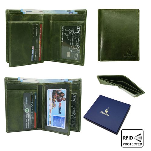 Men leather RFID Standing Wallet