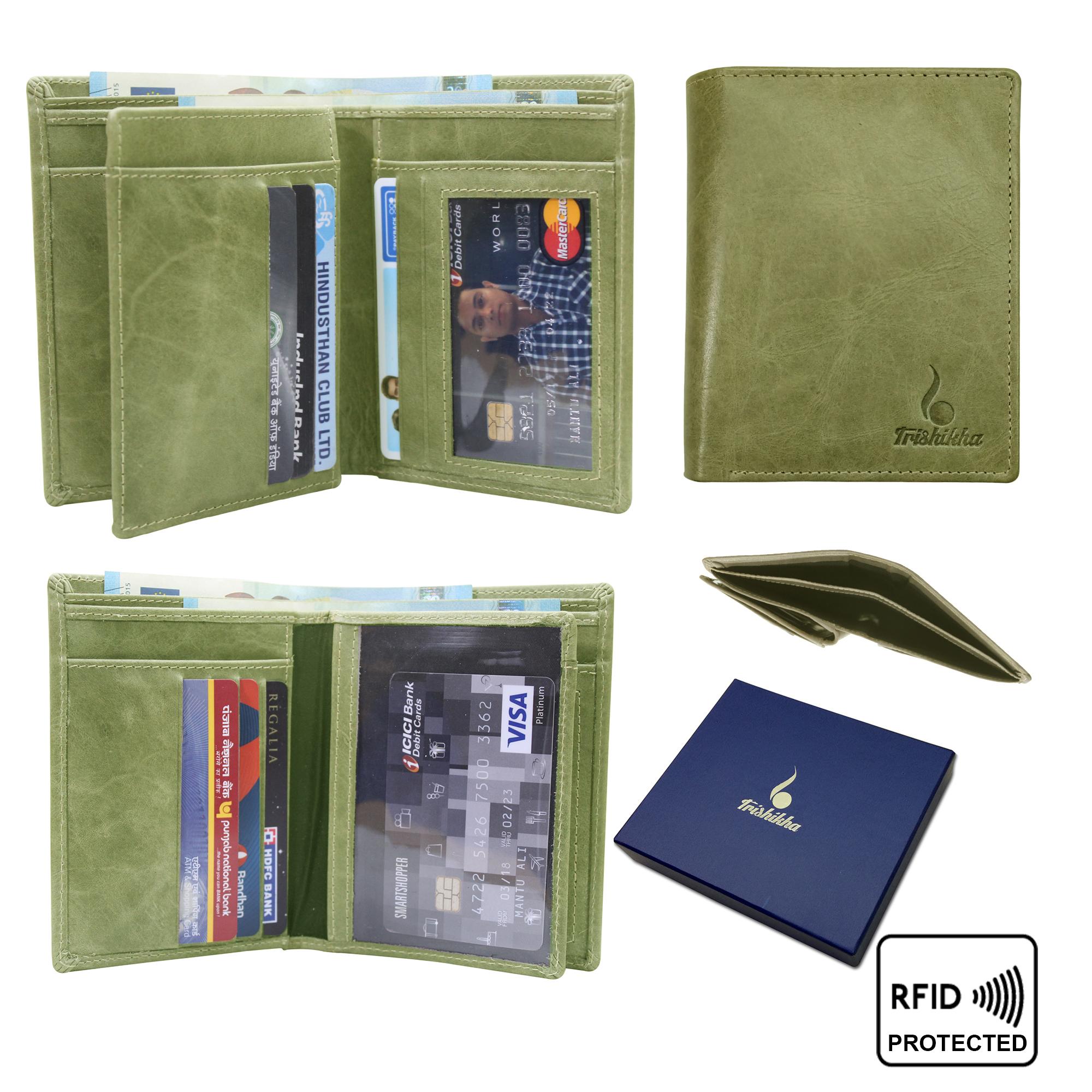 Men leather RFID Standing Wallet