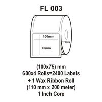 Flexi Labels FL-003(100X75mm, 600X 4 Rolls+ 1 Wax Ribbon Roll)