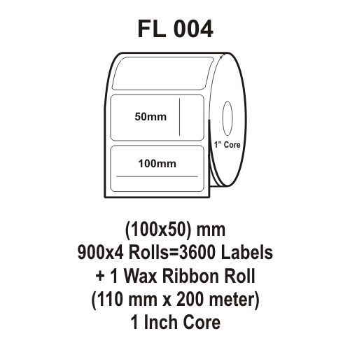 Flexi Labels FL-004 (100X50mm, 900X 4 Rolls+ 1 Wax Ribbon Roll)
