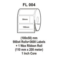 Flexi Labels FL-004 (100X50mm, 900X 4 Rolls+ 1 Wax Ribbon Roll)