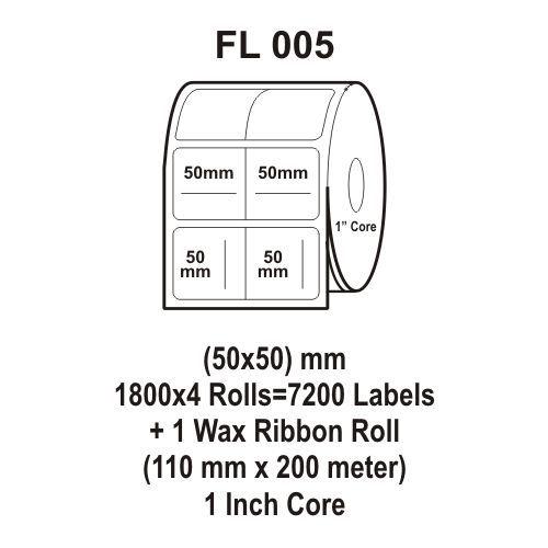 Flexi Labels FL-005 (50X50mm, 1800X 4 Rolls+ 1 Wax Ribbon Roll)