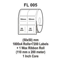 Flexi Labels FL-005 (50X50mm, 1800X 4 Rolls+ 1 Wax Ribbon Roll)