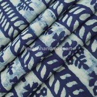 Handmade block print 100% Cotton indigo blue fabric