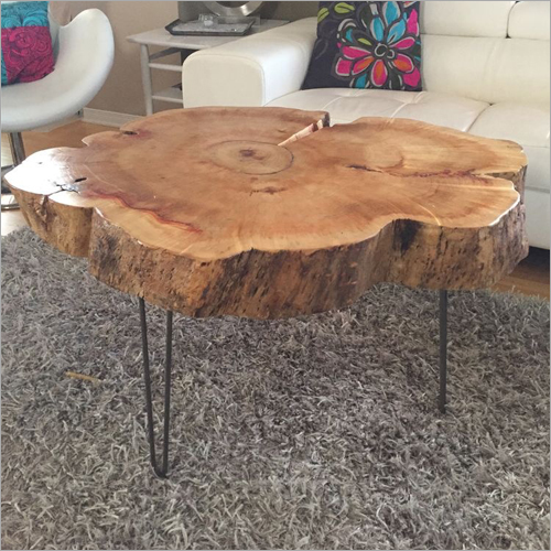 Tree Trunk Table with Metal Legs