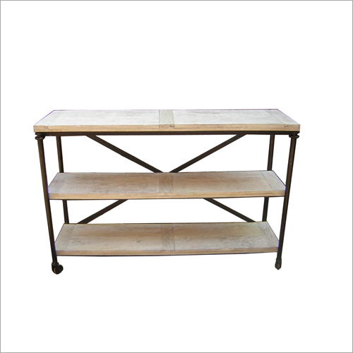 Metal and Wood 2 Shelf Console Table