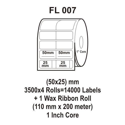 Flexi Labels FL-007 (50X25mm, 3500X 4 Rolls+ 1 Wax Ribbon Roll)