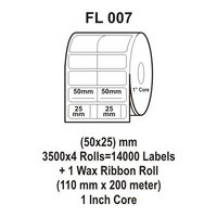 Flexi Labels FL-007 (50X25mm, 3500X 4 Rolls+ 1 Wax Ribbon Roll)