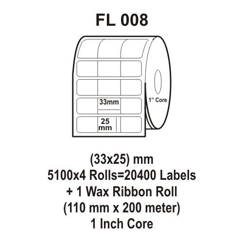Flexi Labels FL-008 (33X25mm, 5100X 4 Rolls+ 1 Wax Ribbon Roll)