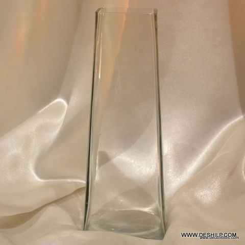 LONG GLASS CLEAR FLOWER VASE