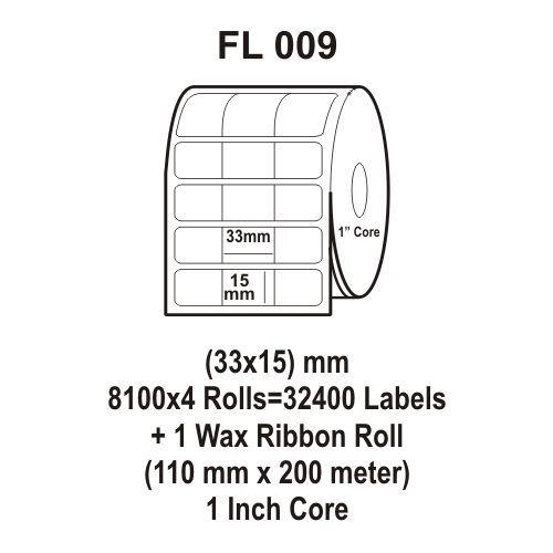 Flexi Labels FL-009 (33X15mm, 8100X 4 Rolls+ 1 Wax Ribbon Roll)