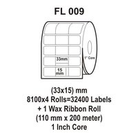 Flexi Labels FL-009 (33X15mm, 8100X 4 Rolls+ 1 Wax Ribbon Roll)