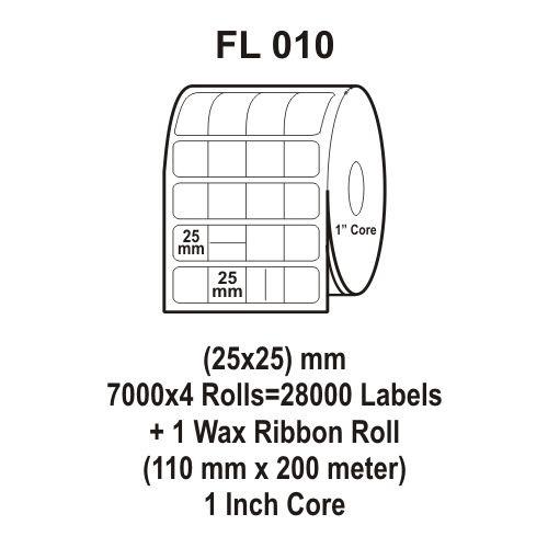 Flexi Labels FL-010 (25X25mm, 7000X 4 Rolls+ 1 Wax Ribbon Roll)