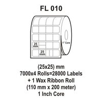 Flexi Labels FL-010 (25X25mm, 7000X 4 Rolls+ 1 Wax Ribbon Roll)