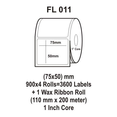 Flexi Labels FL-011 (75X50mm, 900X 4 Rolls+ 1 Wax Ribbon Roll)