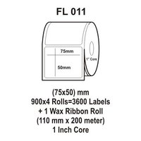 Flexi Labels FL-011 (75X50mm, 900X 4 Rolls+ 1 Wax Ribbon Roll)
