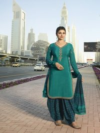Rahi Fashion Prachi Desai SIA GREEN COLOR Royal Crape Embroidered Straight Suit