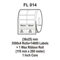 Flexi Labels FL-014 (38X25mm, 3500X 4 Rolls+ 1 Wax Ribbon Roll)