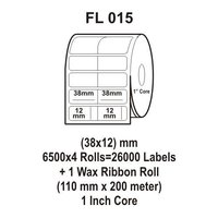 Flexi Labels FL-015 (38X12mm, 6500X 4 Rolls+ 1 Wax Ribbon Roll)