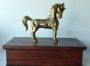 Brass Horse on Top Cremation Urn Funeral