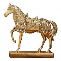 Golden Walking Horse Statue for Wealth