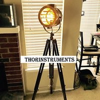Designer Study Room Decor Vintage Spot Light Lamp Floor Brown Tripod Stand