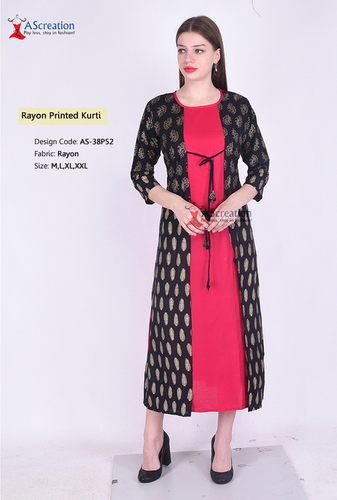 Rayon 140 Gold Printed Kurti - New Summer Collection 2019
