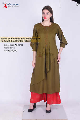 Rayon Embroidered Moti Work Designer Kurti with Gold Printed Palazzo
