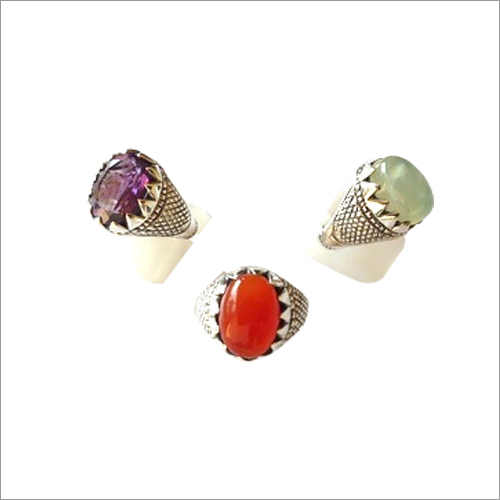 Amethyst Carnelian And Prehnite Ring