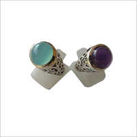 Aquacalc And Amethyst Stone Ring