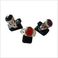 Black Onyx Carnelian And Amethyst Ring
