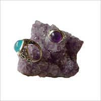 Chalcedony And Amethyst Ring