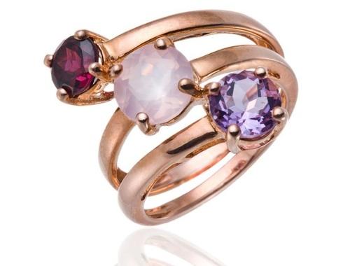 Rose Quartz And Amethyst Stone Ring