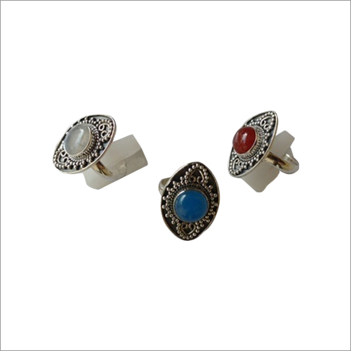 Rainbow Moonstone Blue Calcy And Red Onyx Gemstone Ring